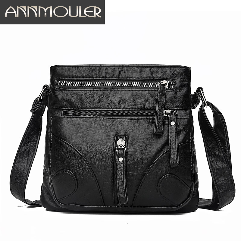 Annmouler Fashion Women Crossbody Bag Soft Washed Leather Purse Handbag Pu Leather Shoulder Bag Small Black Messenger Bag