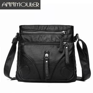 Image 1 - Annmouler Fashion Women Crossbody Bag Soft Washed Leather Purse Handbag Pu Leather Shoulder Bag Small Black Messenger Bag