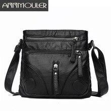 Annmoulerファッション女性クロスボディバッグソフト洗浄革財布ハンドバッグpuレザーショルダーバッグスモール黒メッセンジャーバッグ
