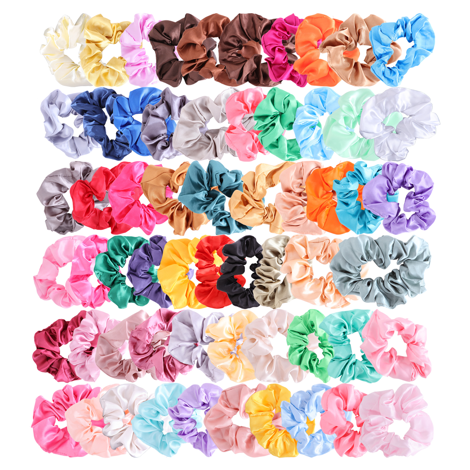 Colorful Silk Satin Scrunchy Set 60Pcs  Strong Elastic Bobble Hair Bands Traceless Hair Rope Accessory For Ponytail Holder