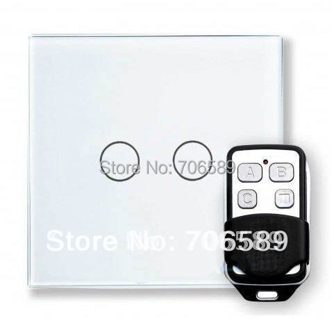 livolo AC110~250V(50/60Hz) 2 Gang Wireless Remote Control Switch,Smart Home Waterproof Glass Panel Touch Light System