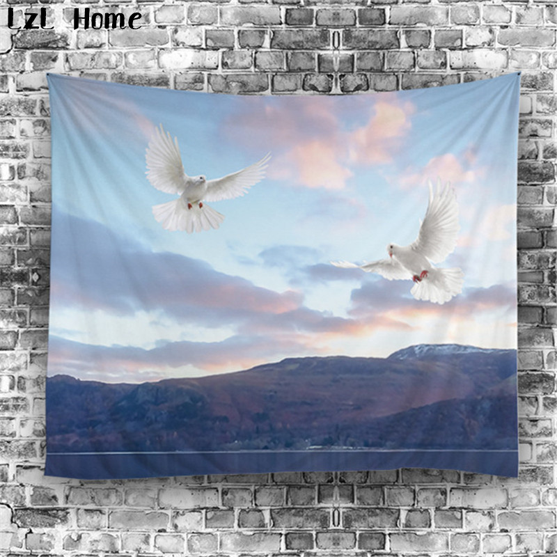 LzL Home polyester ready made tapestry dove peacock swan tapestry jacquard 3d printed rectangle beach towels wall hanging carpet