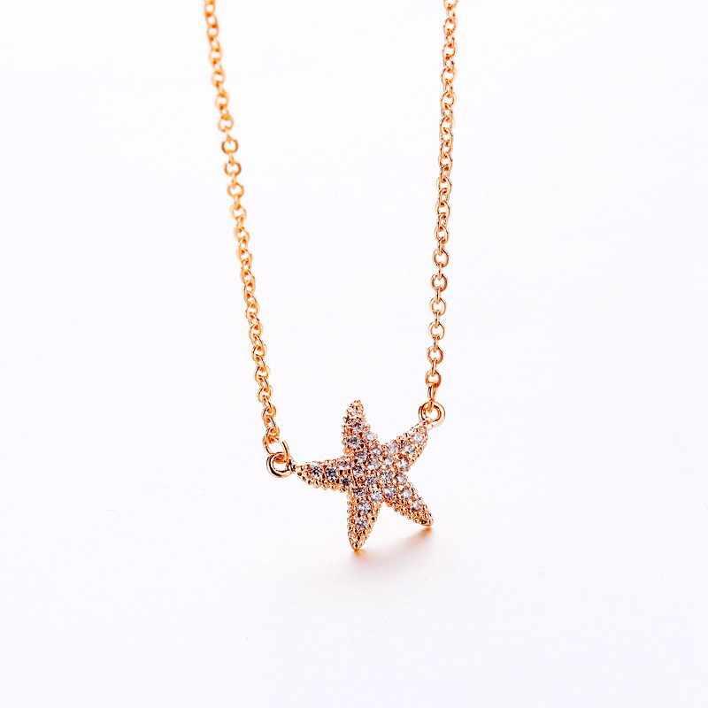 MIGGA Micro pavé cubique zircone étoile de mer pendentif collier couleur or Rose étoile de mer femmes tour de cou chaîne