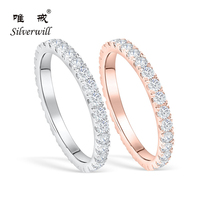 Silverwill sterling 925 silver sparkling Moissanite wedding rings for women the eternity stackable bridal luxury fashion jewelry