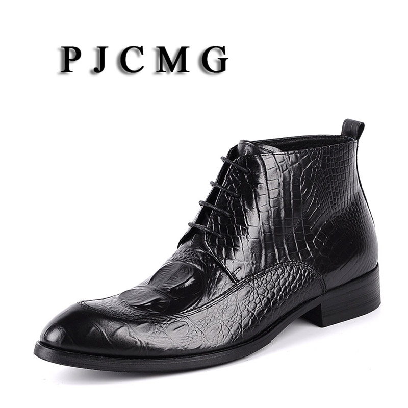 PJCMG New British Style Black Red Genuine Leather Lace Up Man s Crocodile Pattern Dress Wedding
