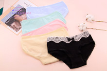 New Vintage Lace Bow Cute Candy Color Girls Underwear Freshness Pure Cotton Panties Mid-Rise Briefs A-3