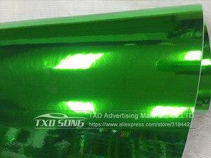 Image 2 - 50CM * 100/200/300/400/500CM 새로운 크기 높은 stretchable 녹색 실버 크롬 미러 유연한 비닐 랩 시트 롤 필름 자동차 비닐