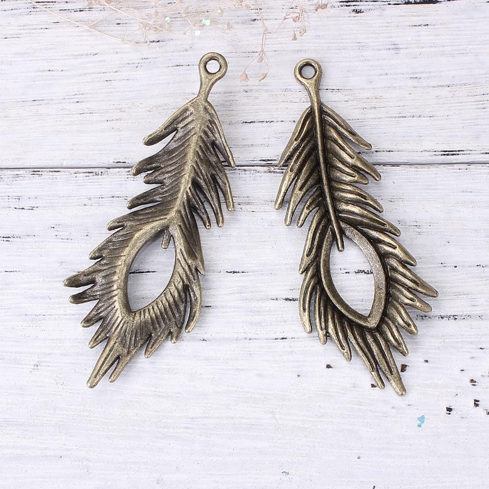 DoreenBeads Zinc Based Alloy Antique Bronze Pendants Feather Pattern Fashion DIY Components 71mm(2 6/8) x 28mm(1 1/8), 10 PCs