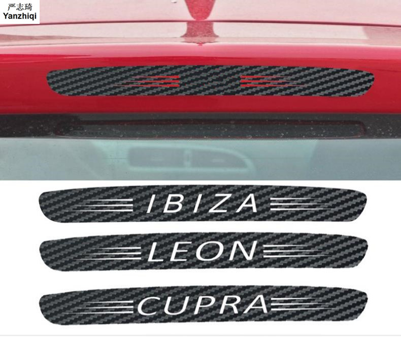 Carbon Fiber Stickers And Decals High Mounted Stop Brake Lamp Light Car Styling For 09-14 Seat Leon 2 FR+ Cupra