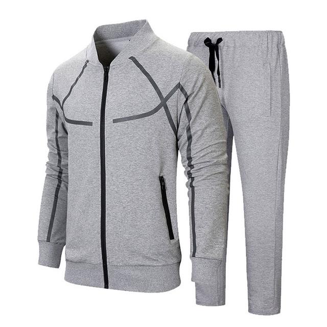 2018 Men's Sportwear Suit Sweatshirt Tracksuit Without Hoodie Men Casual Active Suit Zipper Outwear 2 Pieces Jacket+Pants Sets