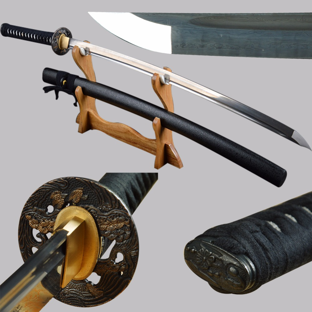 Bradon Swords Long Handmade Japanese Samurai Katana Sharp Full Tang Damascus Folded Steel Tameshigiri Practice Aikido Iaido