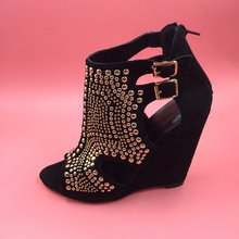 Black Rivets Women Sandal Wedge Heels Open Toe Hollow Out Side Real Images New Sapato Feminino Black High Heel Sandals