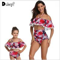 New Mom and Daughter Matching Swimwear Fashion Baby Girls Leaves Swimsuit Outfit Pom Pom Sexy Mommy and Me Clothes