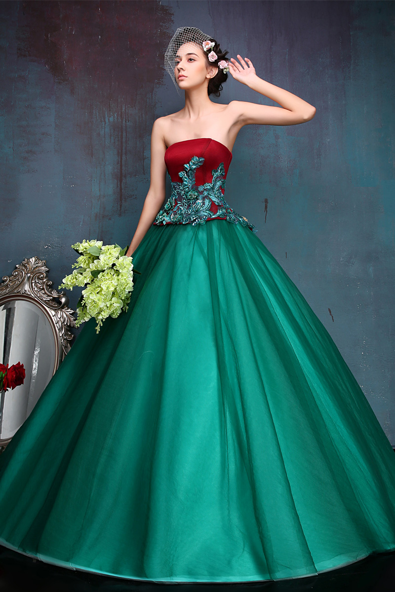 Vestido De Festa Red / Green Lace Evening Dresses Ball Gowns ...
