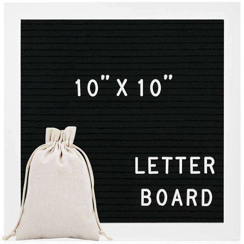 Felt Letter Board Sign Message Home Office Decor Board Oak Frame with Letters Symbols Numbers Characters Bag 10x10 IN