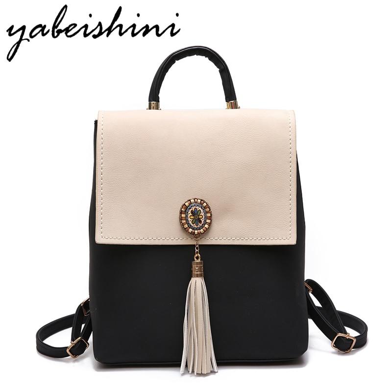 YABEISHINI Girl School Bags For Teenagers Women Small Backpack Black Leather Women's Backpacks Fashion Female Backpacks