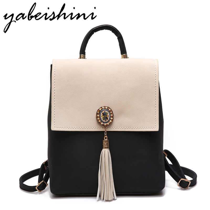 YABEISHINI Girl School Bags For Teenagers  Women Small Backpack Black Leather Women's Backpacks Fashion  Female  Backpacks
