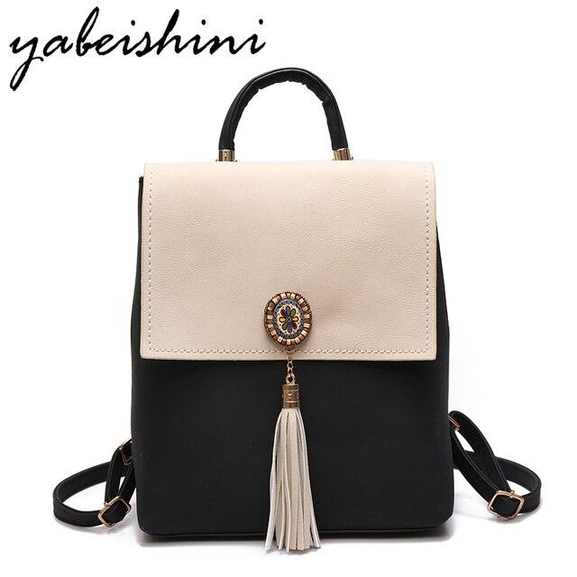 0ce5b052228 YABEISHINI Girl School Bags For Teenagers Women Small Backpack Black  Leather Women s Backpacks Fashion Female Backpacks