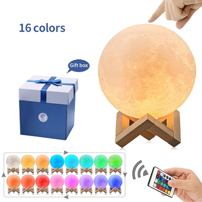 3D Print Moon lamp 2 Color Change Touch Switch Bedroom Bookcase Usb Led Night Light Home 3d lunar moon light lamp BB SPEAKER magnetic floating levitation 3d print moon lamp led night light 2 color auto change moon light home decor creative birthday gift