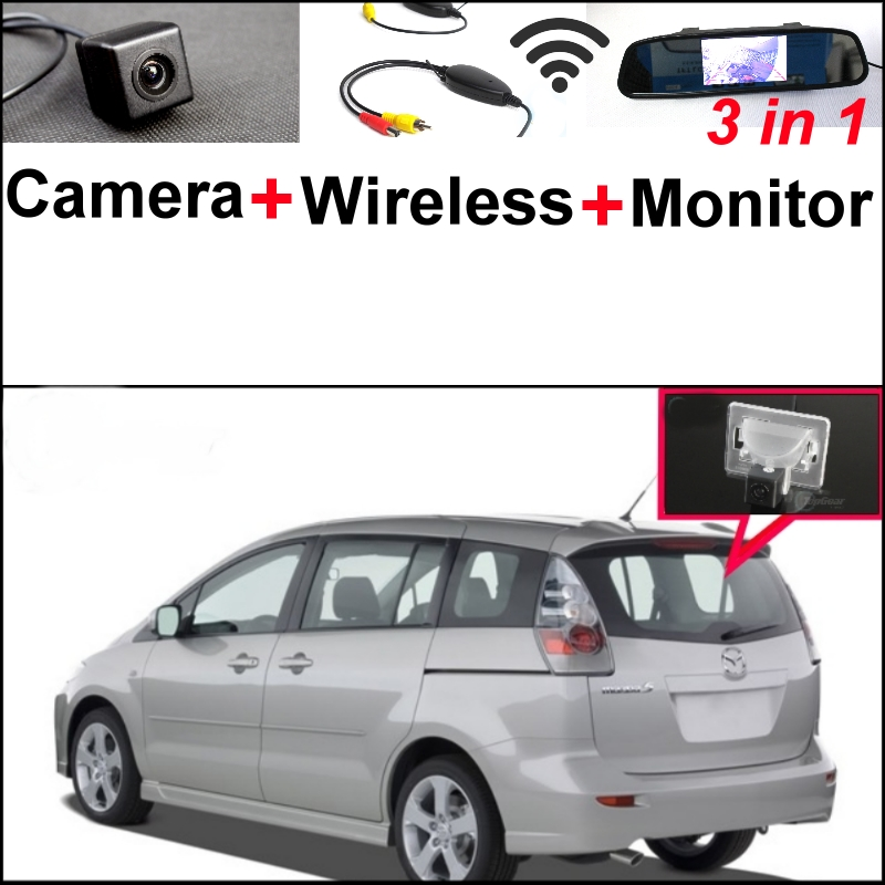 3 in1 Special Camera + Wireless Receiver + Mirror Monitor DIY Back Up Parking System For Mazda 5 Mazda5 Premacy MK2 2005~2010 wireless pager system 433 92mhz wireless restaurant table buzzer with monitor and watch receiver 3 display 42 call button