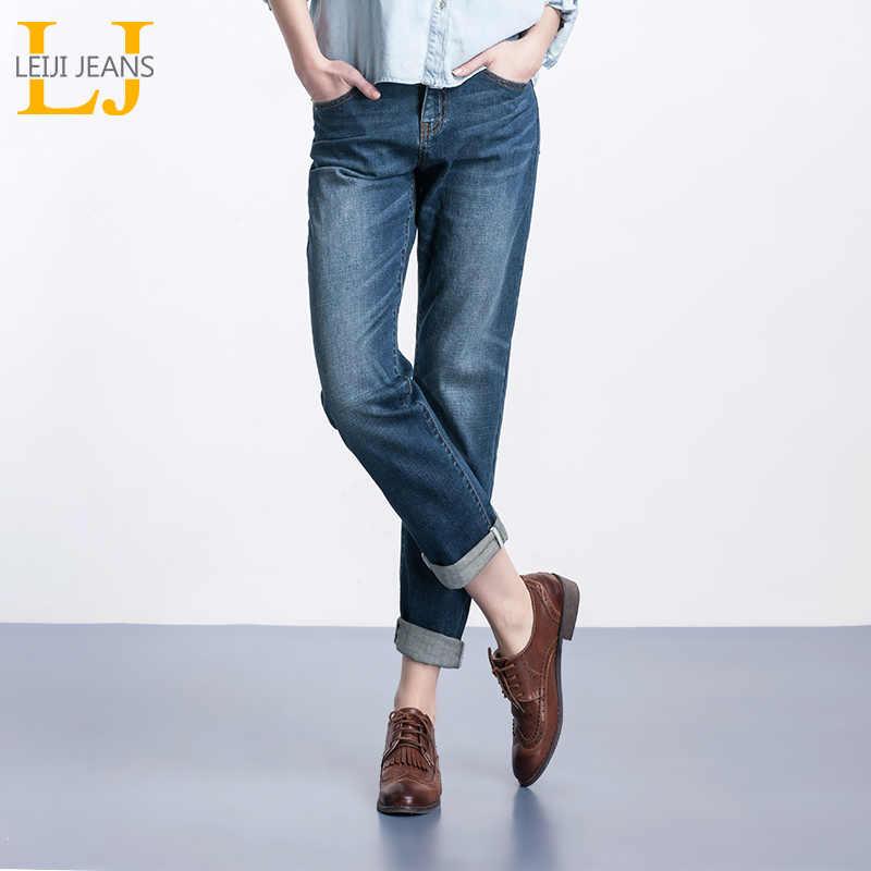 620f1fe3f04 LEIJIJEANS Spring Plus Size Fashion Bleached Vintage Mid Waist Full Length  Loose Boyfriend Jeans Stretch Jeans