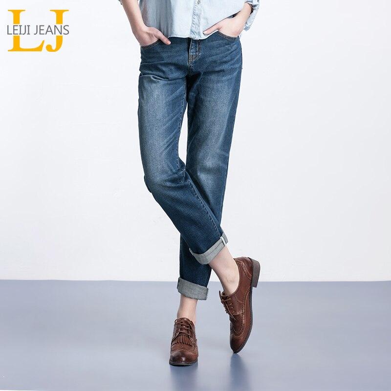 LEIJIJEANS Spring Plus Size Fashion Bleached Vintage Mid Waist Full Length Loose Boyfriend Jeans Stretch Jeans For Women
