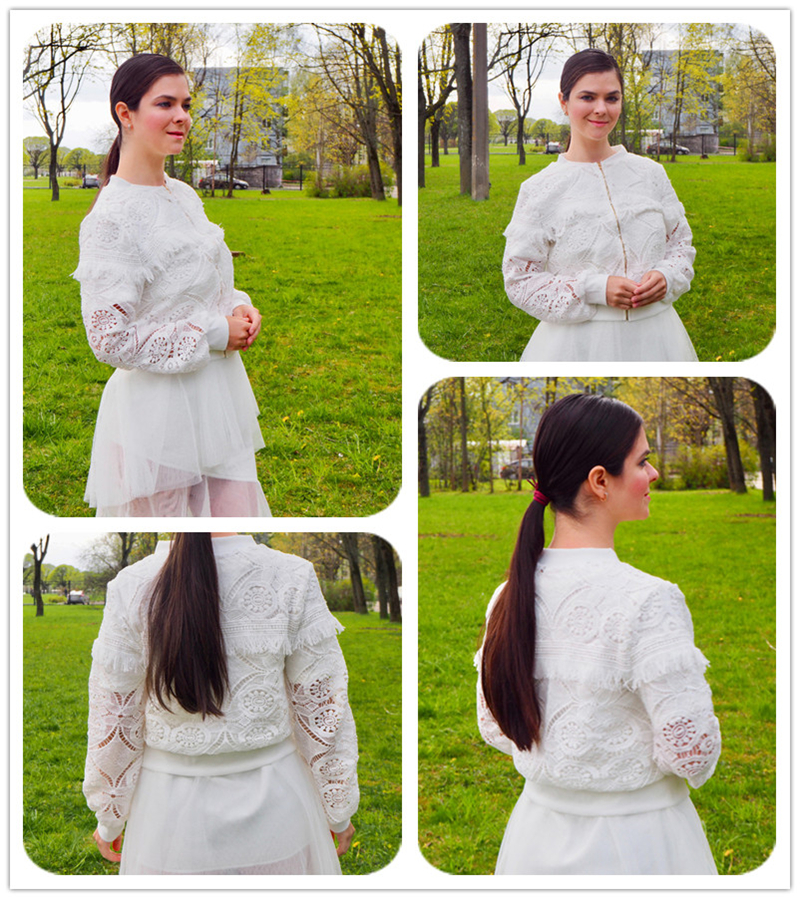 Sheinside White Elegant Hollowed Out Lace Jacket Women 19 Back Frayed Edge Detail Jackets Ladies Fringe Zip-up Lace Outwear 4