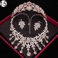 De lujo de joyería nupcial para Las Mujeres perlas africanas de la boda joyería set collar y los pendientes de la corona