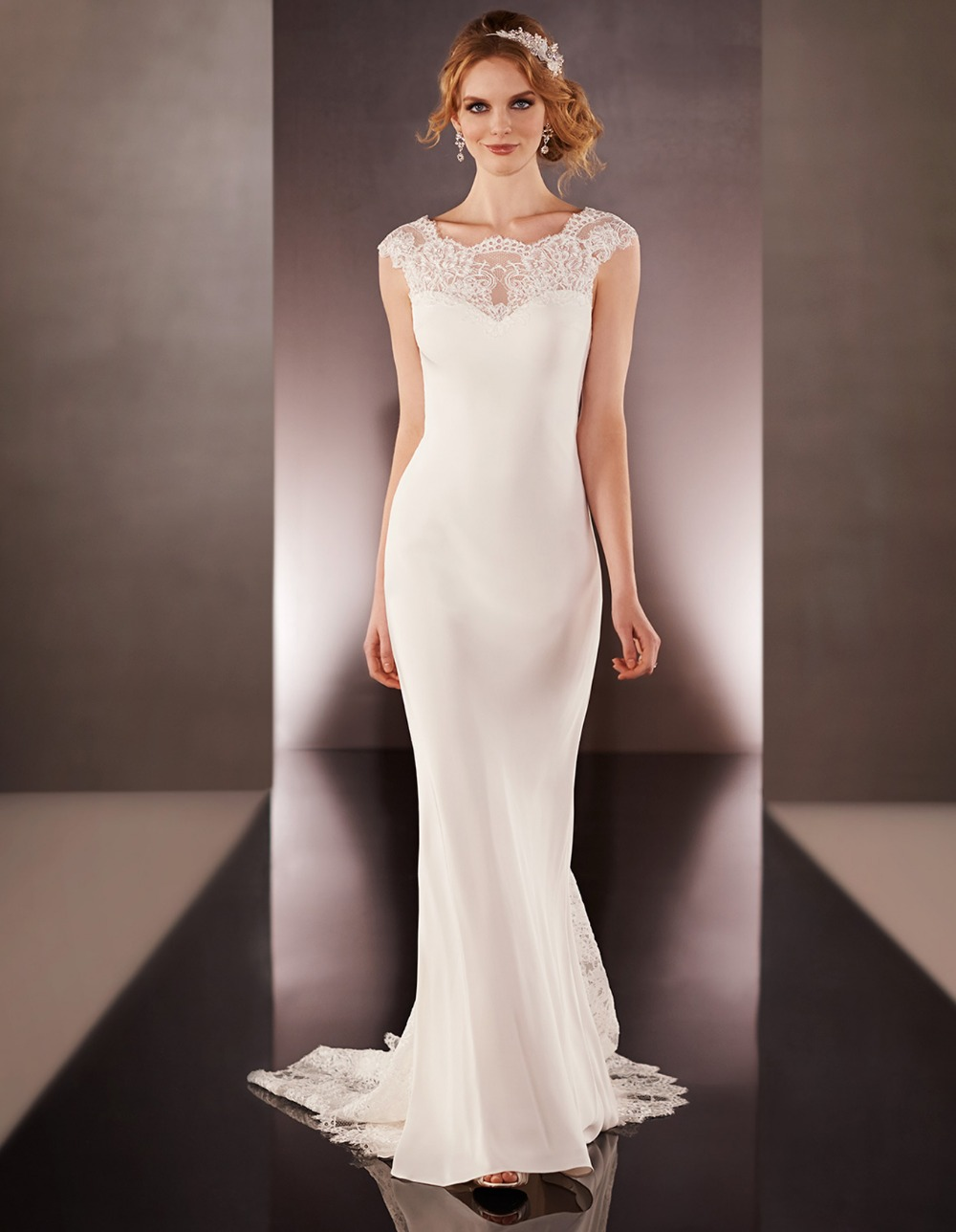 cheap ivory wedding dresses JLM Couture JIM HJELM Spring Collection Style Ivory beaded Alencon lace over Peach Organza modified A line bridal gown sweetheart neckline