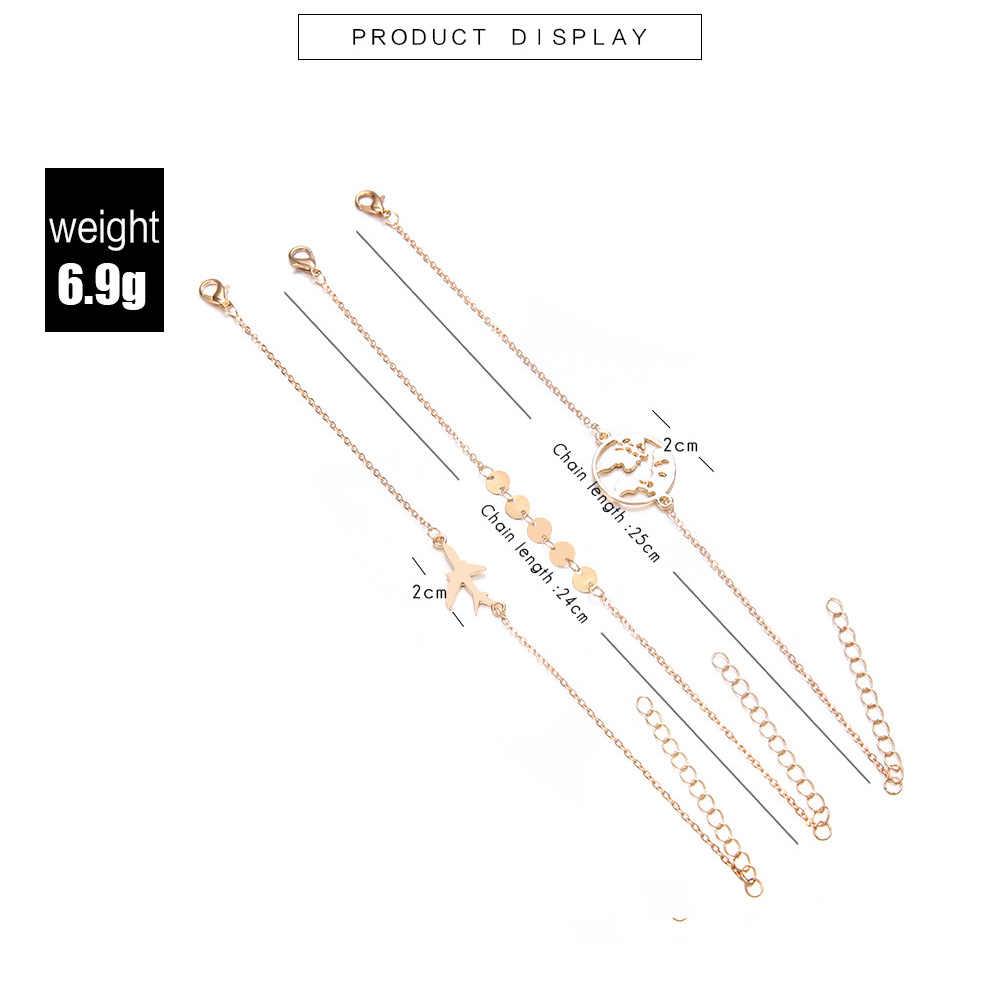 3 ชิ้น/เซ็ต Gold สร้อยข้อมือชุด Sequins เครื่องบินแผนที่ Hollow Charm กำไลสำหรับผู้หญิงหลาย Link Chain เครื่องบินเครื่องประดับ
