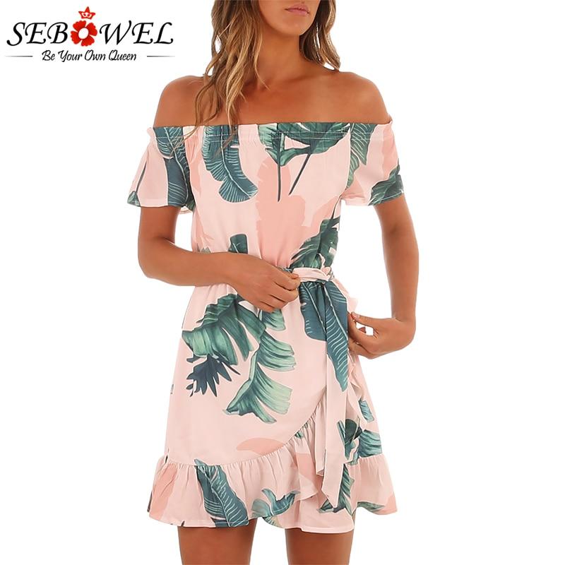 Sebowel 2018 Sexy Slash Neck Boho Dresses Casual Women Off Shoulder Dress Party Summer Bohemian Mini Dress Vestidos De Festa women s casual slash neck off shoulder striped mini dress