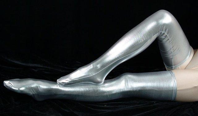 Brillante Sexy Lycra de Alta Del Muslo Stocking Medias Traje Bien Populares Plata de La Venta Caliente