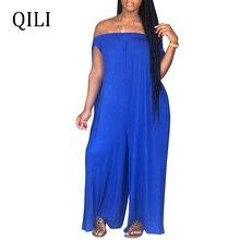 QILI Women Loose Jumpsuits Off Shoulder Short Sleeve Straight Wide Leg Casual Elastic Neckline Solid S-3XL