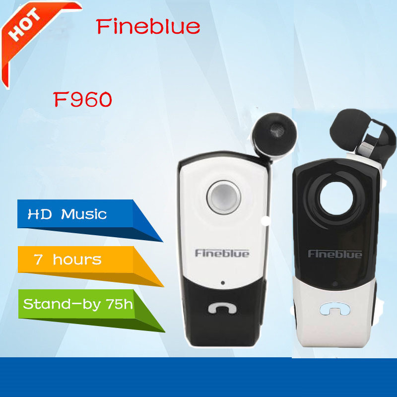 Newest FineBlue F960 Stereo Wireless Bluetooth Headset Calls Remind Vibration Wear Clip Driver Auriculares Earphone for Phone