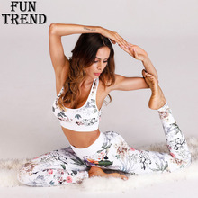 Yoga Set Floral Women Sport Suit Running 2 Pieces Tracksuit Gym Fitness Costume Top+Pants Clothing