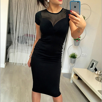 Summer Black Sexy Yarn Splicing Zipper Sheath Dress Women's Knee-Length Short Sleeved Fashion Mesh Patchwork Party Dresses 1