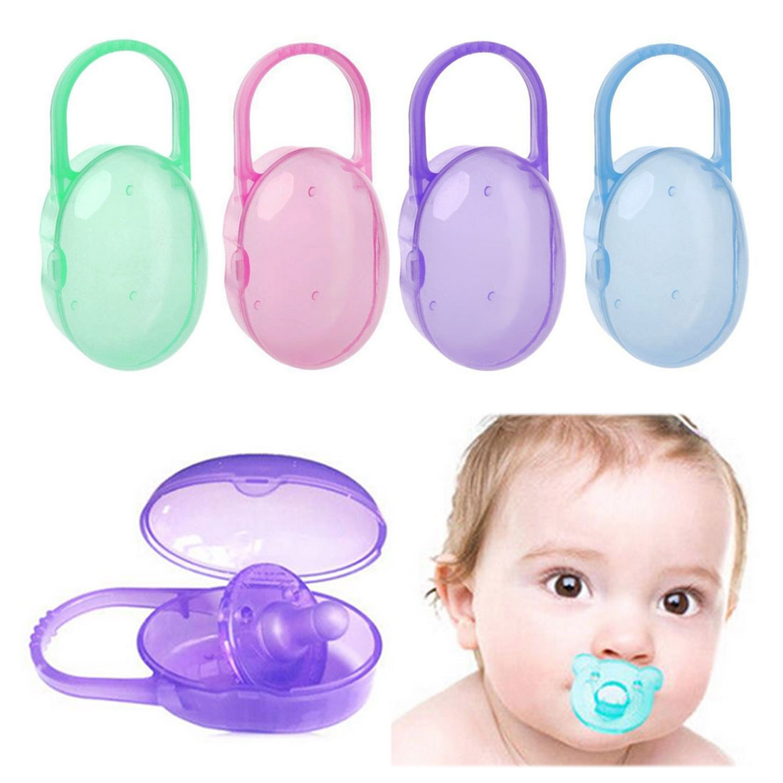 Solid Portable Baby Infant Kids Pacifier Nipple Cradle Case Holder Travel Storage Box Soother Safe Box 1pc