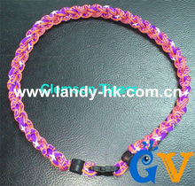 Custom Team Titanium Germanium Ionic Sports Necklace Triple Braid Clemson Tigers, 100pcs/lot, Free Shipping