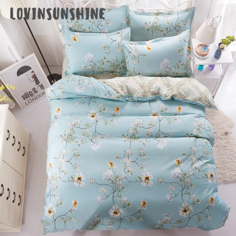 LOVINSUNSHINE Quilt Cover Set Bed Sheet Duvet Cover Blue Euro Bedspread 4pcs Queen Size Bed Sheets Set AB#69|Bedding Sets| |  - title=
