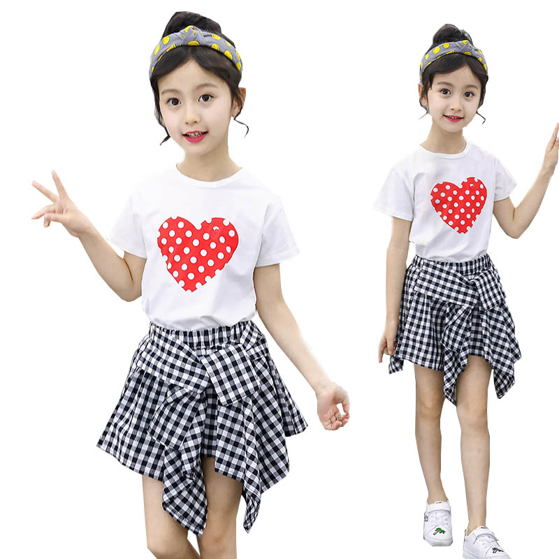 Teenage girls clothing set kids tracksuit for girls T shirt plaid skirt suit summer 2018 school girls clothes children clothes купить