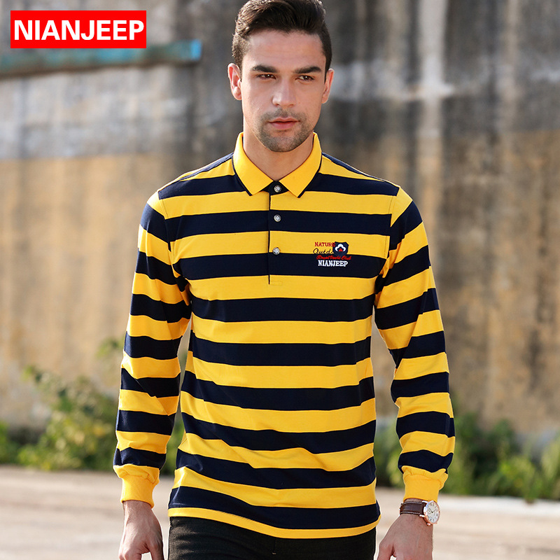 NIANJEEP Brand Cotton Men's   Polo   Shirt 2017 Autumn New Casual Striped Embroidery male Long Sleeves   POLO   Shirts home Clothing