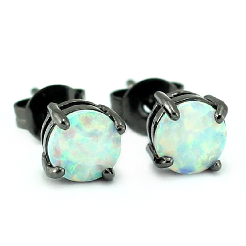 2017 New Unusual Design 6MM Round Cut Synthetic White Fire Opal Black Gold Color Man And Women Stud Earrings Free Shipping