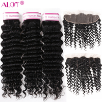 ALot Deep Wave Brazilian Hair Bundles With 13x4 Frontal Human Hair Weave 3 Bundles With Ear To Ear Lace Frontal Closure Remy