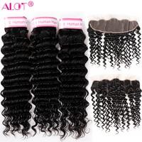 ALot Deep Wave Brazilian Hair Bundles With 13x4 Frontal Human Hair Weave 3 Bundles With Ear To Ear Lace Frontal Closure Remy