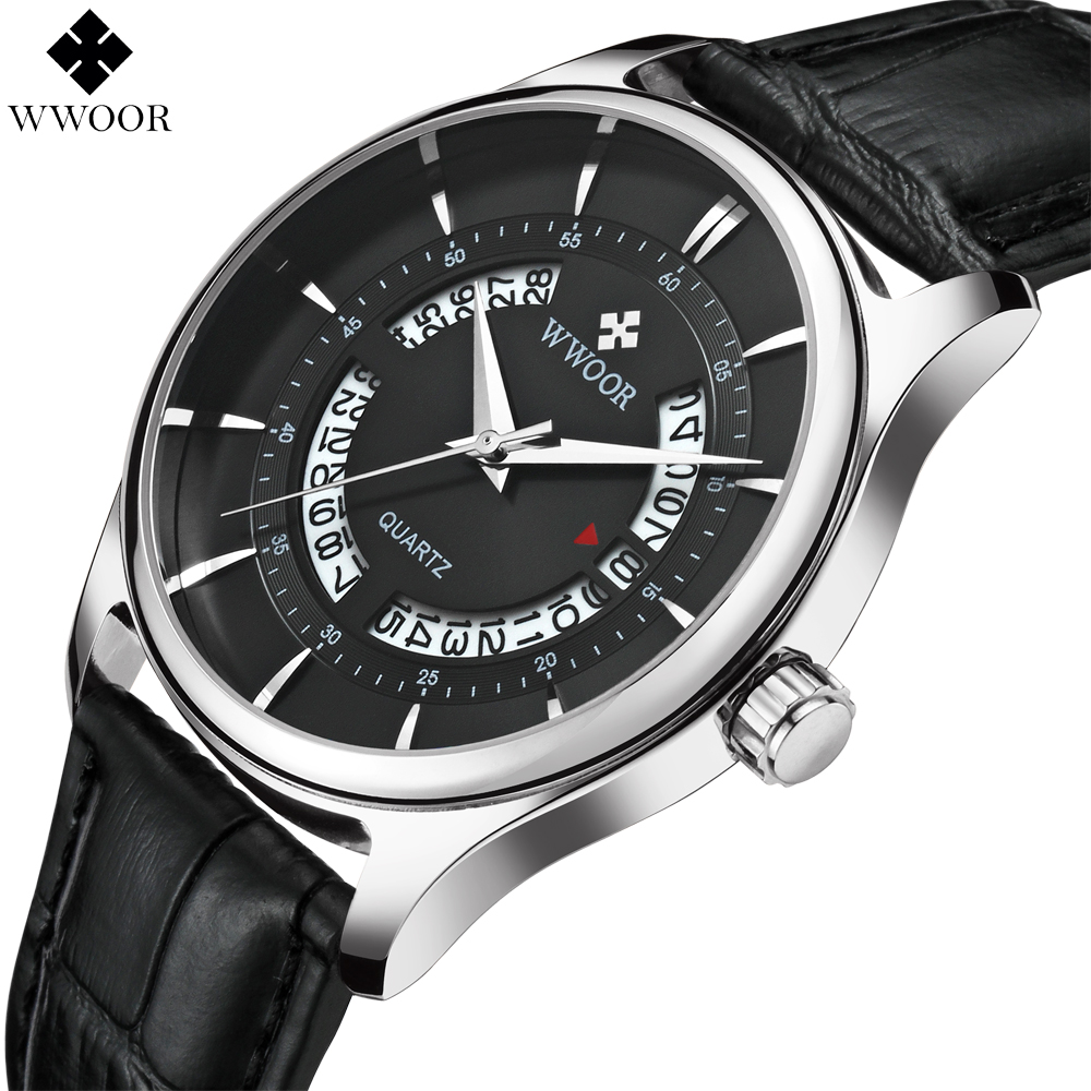 2018 WWOOR Men Watches Top Brand Luxury Hollow Date Waterproof Analog Clock Man Leather Strap Quartz Watch Men Sport Wrist Watch skmei luxury brand stainless steel strap analog display date moon phase men s quartz watch casual watch waterproof men watches