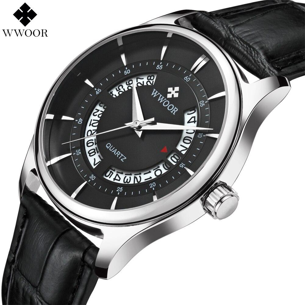 Men's Watches Top Brand Luxury WWOOR Hollow Date Clock Male Waterproof Sport Quartz Watch Men Leather Strap Business Wrist Watch цена