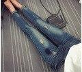 Maternidade Jeans Buracos Primavera Outono Plus Size Roupas Grávidas Calças Jeans Grandes Calças de Brim Calças de Algodão Para As Mulheres Grávidas
