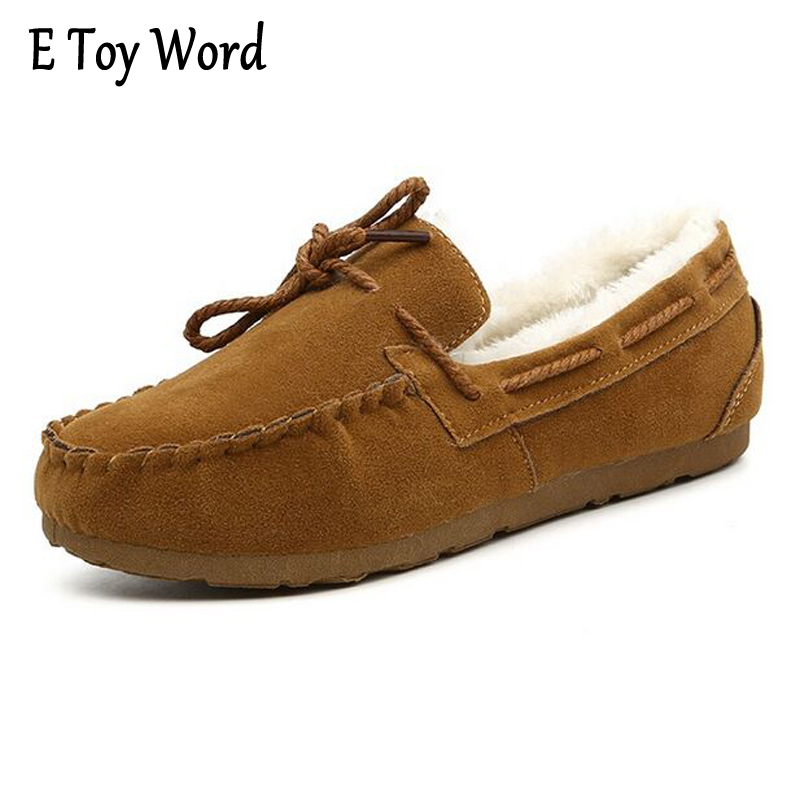 E TOY WORD Winter Flock Loafers Casual Slip On Warm Women Shoes Soft Flats Suede Platform Shoes Woman Size 35-40 XWD4157 siketu sweet bowknot flat shoes soft bottom casual shallow mouth purple pink suede flats slip on loafers for women size 35 40