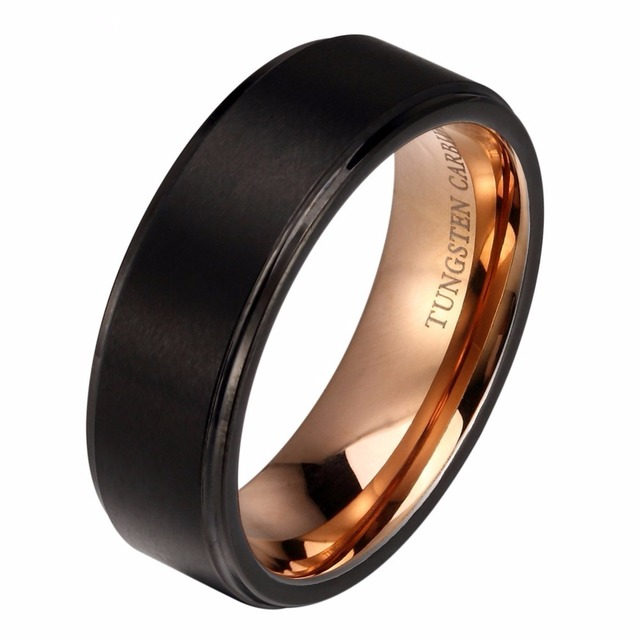 8mm Black Tungsten Wedding Band Ring for Women Men Rose Gold Color