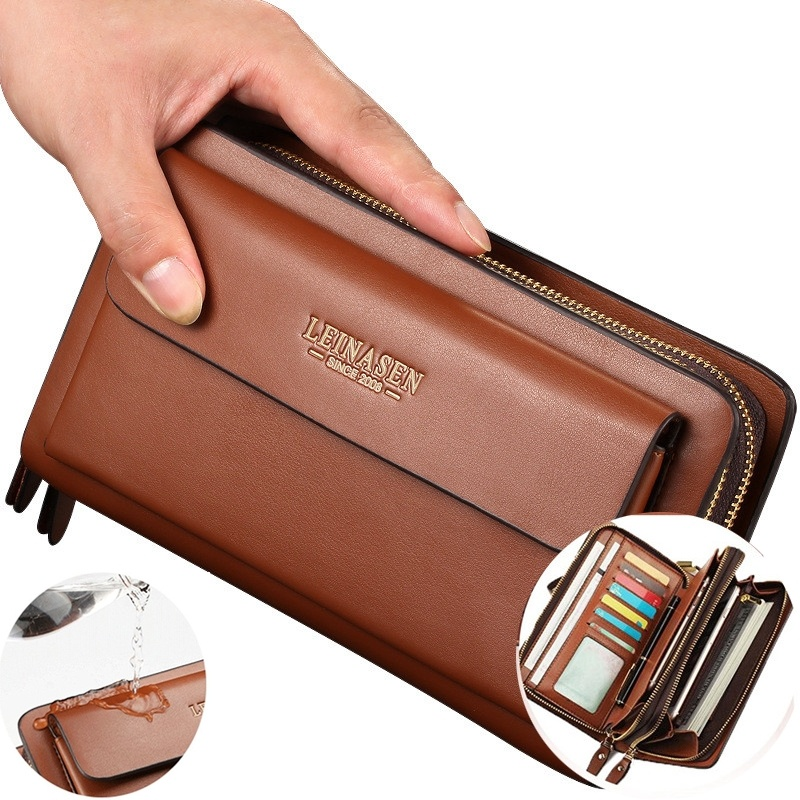 Men/'s Genuine Leather Zipper Clutch Long Wallet Purse Handbag Card Checkbook Bag